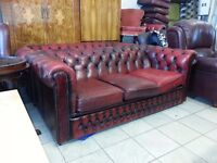lovely 3+2+1 setter ox blood leather chesterfield.
