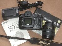 Nikon D70 DSLR Camera and Lens kit plus Additional Zoom/Macro lens and extra's, vgc