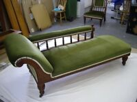 Edwardian antique oak chaise longue and 2 matching chairs