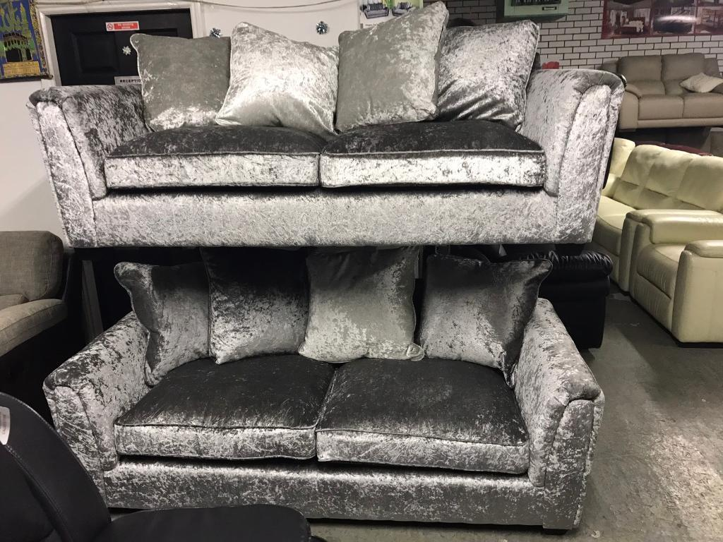 Famous store silver Crushed Velvet sofa set 3 plus 3 seater sofa three and three