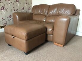 Brown leather sofas 2 & 3/4 seaters & foot stool