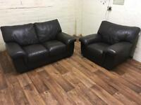 Real leather sofa + chair (free delivery)