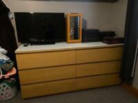 IKEA malm oak look chest of drawers and bedside tables
