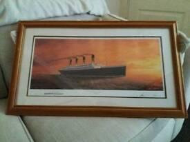 Titanic print in rustic pine frame