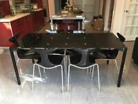 Italian extendable designer Ciacci Kreaty glass dining table and chairs