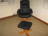 Black Leather Recliner plus Footstool