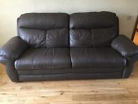 Brown leather suite. 1 electric recliner chair