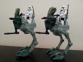 star wars AT-ST walkers & storm trooper x 2