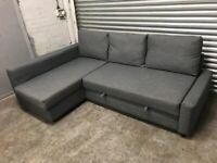 FREE DELIVERY IKEA FRIHETEN GREY L-SHAPED CORNER SOFA BED GOOD CONDITION