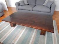Dark solid hardwood coffee table