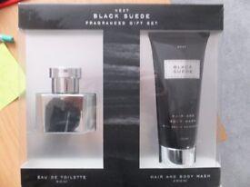 Next Black Suede Fragranced Gift Set. BNIB