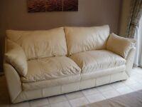 Large 3 Seater Cream Leather Sofa