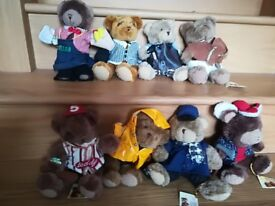 Collection Of 8 Different Character Teddy Bears From The Teddy Bear Collection
