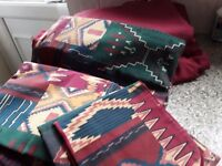 Bedding and curtains for single bed. Aztec design