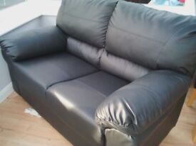 3 seater sofa black leather