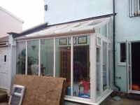 White conservatory - 2 sided -? with glass roof for sale