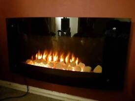 Electric glass fire with remote