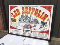 Original 25x35in. 90x64cm Framed Led Zeppelin Rare UK Concert poster 1975 London Earls Court