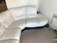 White Leather large corner sofa - can seat 6 people