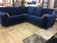 Plush Marine Blue corner sofa