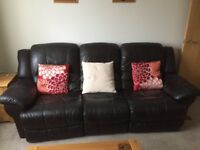3 Seater Dark Brown Leather Sofa & Chair/ Both Power Recliners/ Full Back