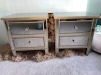 Marks & Spencer Mirrored Gold Two Drawer Bedside Units Pair