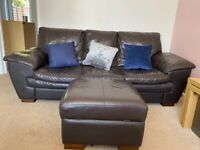 Brown leather 3 seater, 2 seater sofa and storage footstool