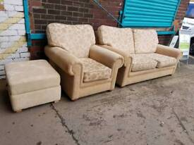 beige pattnerd fabric two seater with Armchair and Pouffe