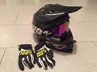 Pro grip motorcross helmet 100% goggles and gloves