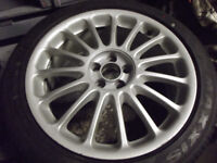 SET OF MGZT ROVER75 7.5 X 18 STRAIGHTS ALL GOOD + 225 45 X 18 MAXIS TYRES ALMOST NEW 5 x 100 mm
