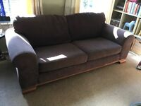 Brown 2 seater & 3 seater sofa, excellent condition 4 age (4 years old) washable covers.