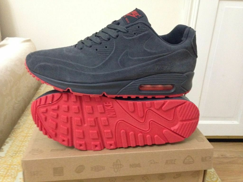 nike air max 90 hyperfuse vt grey and red suede size 8.5 , 9 BNIB,