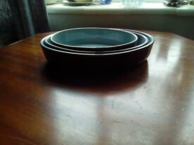 For sale 3 denby stone where dish,s .in like new conditon.