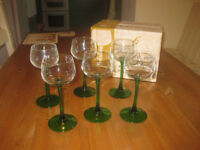 Set of 6 x green stemmed wine glasses - very good condition