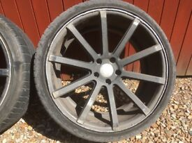 """Set of 4 20"""" Black Alloy Wheels with tyres"""