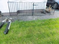 Set of driveway gates complete with fence posts, length both gates across, 3 metres