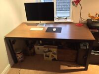 Large Walnut Finish and Black Metal Bench Desk for Home or Office