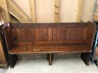 Wooden church pew, approximately 165cm