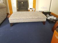 2 seater sofa 1 armchair 1 recliner with up and down movements plus double footstool
