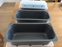 Plant boxes ideal for greenhouse etc suitable for plants seeds or bulbs with tray £2 each.