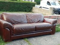 FREE Brown leather 3 seater sofa and 2 seater sofa