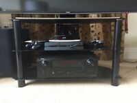 TV Stand - Black Glass with stainless steel brushed accents