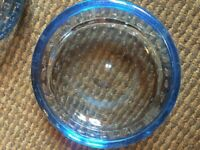 Vintage blue glass bubble ashtray