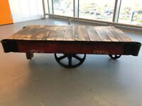 NUTTING Original US Industrial Trolley Cart cast iron & timber deck Coffee Table