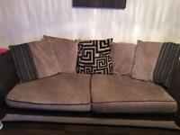 4 seater sofa with swivel round chair.