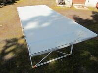 IKEA GLASS (OPAQUE) DINING TABLE, 33.5 INCH; X 79 INCH; GLASS TOP, METAL BASE