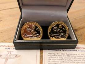 Supermarine Spitfire Golden Crown Cufflinks by The Bradford Exchange