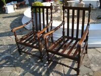 PAIR OF OLD DARK OAK HIGH BACK ARM CHAIRS WITH BARLEY TWIST BOTTOM RAIL LOVELY CHAIRS ONLY £65 PAIR