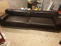 4 seater and 3 seater contemporary premium sofa! (Brown Leather, IKEA Kramfors)