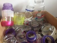WS3 Decorated glass jars and wine bottles. Free!